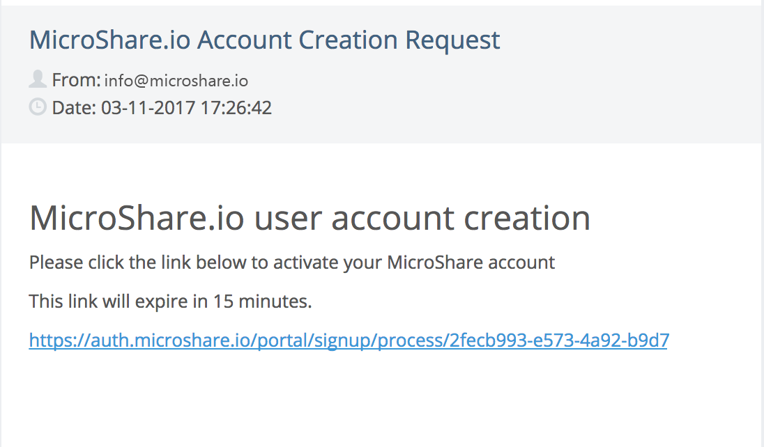 User account creation email